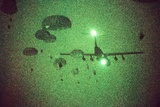 Night Vision Image of Paratroopers Jumping from C-141 Starlifter  Sept 12 1989