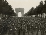 WW2 American Soldiers Marching During the Liberation of Paris  Aug 26  1944