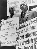 Freedom Riders James Peck and Henry Thomas Protest at NYC Bus Terminal  May 1961