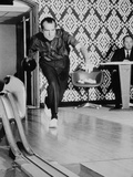 Richard Nixon Bowling at the White House Bowling Alley  1970