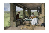 Hispanic Girl Playing Guitar on a Ranch Portico, 1800s Giclée
