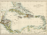 Map of West Indies and the Caribbean Sea, 1800s Giclée