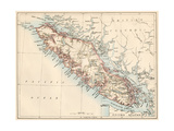 Map of Vancouver Island, British Columbia, Canada, 1870s Giclée