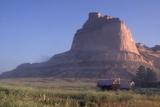 Covered Wagons on the Oregon Trail at Scotts Bluff  Nebraska  at Sunrise