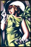 Jeune fille en vert Tableau sur toile encadré par Tamara De Lempicka
