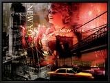 Feux d'artifice à New York Tableau sur toile encadré par Braun