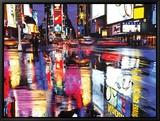 Times Square en couleurs Tableau sur toile encadré