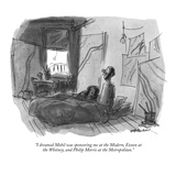 """I dreamed Mobil was sponsoring me at the Modern  Exxon at the Whitney  an…"" - New Yorker Cartoon"