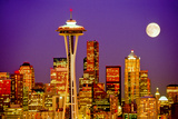 Seattle Skyline and Space Needle At Night From Queen Anne Hill