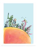 James et la pêche géante|James and the Giant Peach Reproduction d'art par Quentin Blake