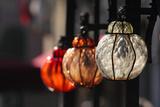A Trio of Colorful  Ornate Glass Lanterns