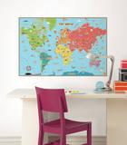 Kids World Map Wall Decal Sticker