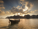 Thai Fishing Boats Off Phi Phi Island at Sunset