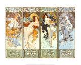 Les Saisons Reproduction d'art par Alphonse Mucha