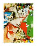 Le village et moi Reproduction d'art par Marc Chagall