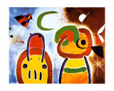 L'oiseau au plumage déployé Reproduction d'art par Joan Miró
