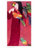 Girl with Parrots