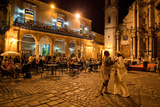 An Outdoor Restaurant and Salsa Dancers on the Cobble Stoned Plaza Catedral in Old Havana Papier Photo par Dmitri Alexander