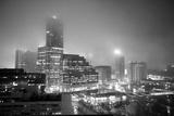 Cityscape of Buckhead  Atlanta in a Heavy Fog at Night
