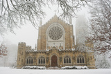 Snow-covered Trees and All Saint's Chapel in Heavy Fog
