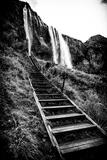 A Wooden Stairway Leading Up to Seljalandsfoss Waterfall Papier Photo par Jonathan Irish