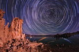 A Moonlit Time Exposure Sky's Rotation Around the Star Polaris