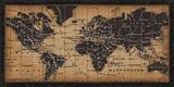 Carte ancienne du monde Reproduction d'art par Pela