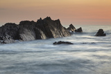 A Dusk View of Atlantic Coast Rocks  at Hartland Quay  Devon  England