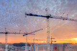 Panorama of a Building Site in Washington  District of Columbia  at Sunset