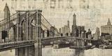 Vintage NY Brooklyn Bridge Skyline Reproduction d'art par Michael Mullan