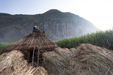 Men Stand on a Thatched Roof of a Hut  the Bale Mountains Are in Back