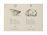 Quail and Rabbit Illustrations and Verse From Nonsense Alphabets by Edward Lear