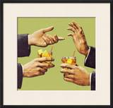 Two Men Talking With Hands and Holding Drink