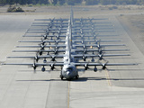 A Line of C-130 Hercules Taxi at Nellis Air Force Base  Nevada