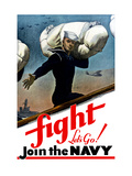 World War Two Poster of a United States Sailor Heading Off To War