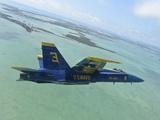 An F/A-18 Hornet of the Blue Angels Flies Over the Florida Keys