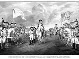 Digitally Restored Revolutionary War Print Showing the Surrender of British Troops