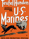 Vintage World War One Poster of a Marine Corps Bulldog Chasing a German Dachshund