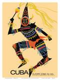 Cuba - Alegre Como Su Sol (Cheerful as Her Sun) - Native Folk Dancer Reproduction d'art par Luis Vega De Castro