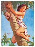 Pick of the Crop (Up a Tree) - Hawaiian Pin Up Girl Reproduction d'art par Gil Elvgren