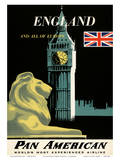 Pan American Airlines (PAA) - England And All Of Europe- Big Ben and British Flag