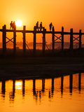 U Bein Bridge (Longest Teak Bridge in the World) at Sunset   Amarapura  Mandalay  Burma (Myanmar)