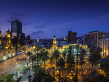 Chile  Santiago  Plaza De Armas and Metropolitan Cathedral  Elevated View  Dusk