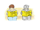 A person and a mummy reading self help books - Cartoon