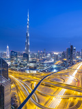 Sheikh Zayad Road and Burj Khalifa  Downtown  Dubai  United Arab Emirates