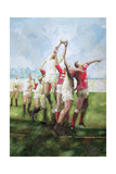 Rugby Match: Llanelli v Swansea  Line Out  1992