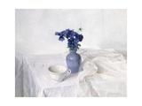 Pansies in a Blue Vase  Still Life  1990