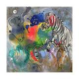 Zebra Mares, 1988 Giclée par Jane Deakin