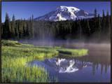 Early Morning on Reflection Lake  Mt Rainier National Park  Washington  USA