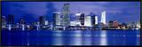 Panoramic View of an Urban Skyline at Night  Miami  Florida  USA